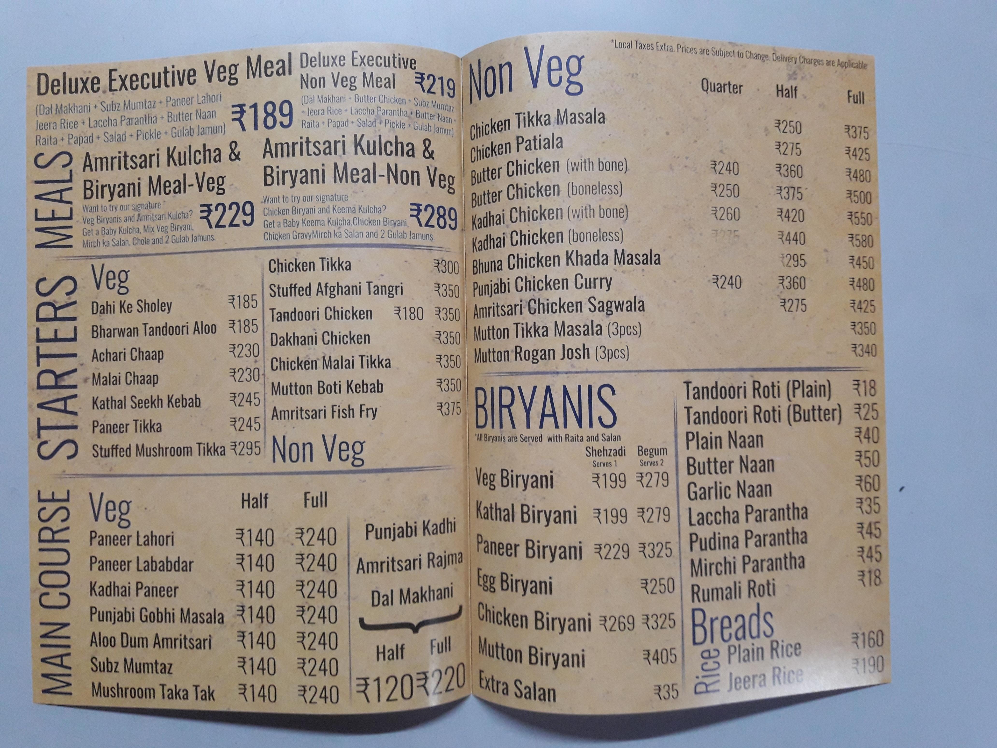 A4 size Restaurants menu
